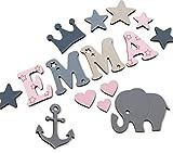 Holzbuchstaben Kinderzimmertür, Dekobuchstaben, in tollen Farbkombinationen I Inkl. 2 Sternen sowie...