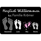 Fußmatte Füße   Pfoten mit Vornamen & Familien - Namen schwarz   Geschenk   Hund   Katze   Umzug   personalisiert   Fußabdruck