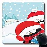 Luancrop Mousepads Feier-Pinguin-Weihnachtsfeiertags-Winterfest-Baum-Baby-Beanie-Entwurf draußen rutschfeste Spiel-Mausunterlage Gummilangmatte