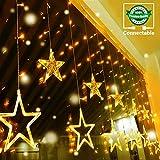 Quntis 138LEDs 2m 12 Sterne Lichterkette Sternenvorhang Warmweiß, 8 Modi IP44 LED Lichtervorhang...
