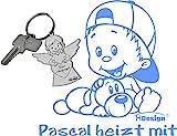 Babyaufkleber Kinderaufkleber mit eigenem Spruch Wunschtext GM-80