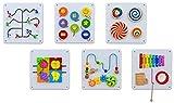 Betzold 756307 - Wandspiel Motorik-Spielzeug aus Holz - 6er-Set Wandelemente Wand-Spielzeug für...