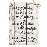Wand Deko Holzschild mit Spruch im Shabby Chic Vintage Stil (20x29x0,5cm) Oma/Opa Ich Habe Euch lieb...