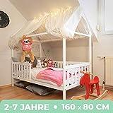 Alcube Hausbett 160x80 cm - stabiles Kinderbett mit Rausfallschutz und Lattenrost - weiß lackiertes...