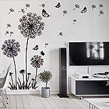 WandSticker4U- XL Wandtattoo PUSTEBLUMEN Schwarz | Wandbilder: 165X130 cm | Wandaufkleber Löwenzahn Blumen Schmetterlinge Pflanzen | Deko für Wohnzimmer Schlafzimmer Küche Bad Flur Fenster