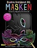 Kreative Kratzkunst XXL: Masken: Set mit 10 Kratz-Masken, Anleitungsbuch und Holzstift: 10...