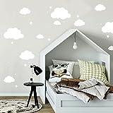ilka parey wandtattoo-welt Wandtattoo mit Wolken Sterne & Punkte in weiß Kinderzimmer Wanddeko Wandgestaltung M2334