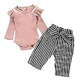 LEXUPE Neugeborene Kinder Baby Mädchen Outfits Kleidung Strampler Bodysuit + Streifen Lange Hosen...