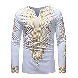 VRTUR Herren Hemd Luxus Langarm African Print Langarm Dashiki Tops Bluse Oberteil(XL,L-Weiß)