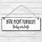Bitte nicht klingeln Baby schläft - Dekoschild Türschild Wandschild aus Holz 10x30cm - Holzdeko...