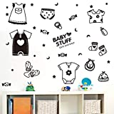 XCGZ Wandsticker Kleidung, Schuhe, Socken, Fenster, Glastür, Aufkleber, Baby, Baby-Shop, Fenster,...