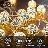 CozyHome marokkanische LED Lichterkette - 7 Meter | Mit Netzstecker NICHT batterie-betrieben | 20...