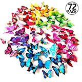 Foonii 72 PCS 3D Schmetterlinge Wanddeko Aufkleber Abziehbilder,schlagfestem Kunststoff...