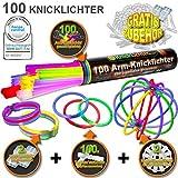 100 Knicklichter 7-FARBMIX, Testnote: 1,4 'SEHR GUT', Komplett-Set inkl. 100x TopFlex-, 2x Dreifach-...