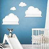 Wandtattoo Wolken in weiß für IKEA Regalbrett Ribba/Mosslanda 55 cm Bilderleiste für Babyzimmer...