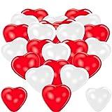 Premium Herzluftballons Rot Weiß 50 Stück. Je 25 Luftballons. XL Größe 30cm. Die Ballons mit...