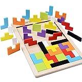 B&Julian ® Holzpuzzle Tetris Tangram Kinder Steckspiel Legespiel bunt Holz geometrisch Formen und...