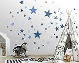 50 Sterne Wandtattoo fürs Kinderzimmer - Wandsticker Set - Pastell Farben, Baby Sternenhimmel zum...