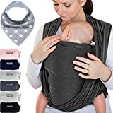 Babytragetuch Dunkelgrau – hochwertiges Baby-Tragetuch für Neugeborene und Babys bis 15 kg –...