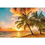 GREAT ART Fototapete – Barbados – Wandbild Dekoration Urlaub Sonnenuntergang Meer Karibik Strand...