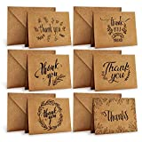Dankeskarten, Ohuhu 36 Pack Braune Papier Dankeskarten Grußkarten W/ 36 Karton Umschläge für...
