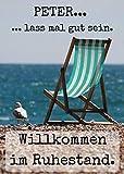 Abschiedskarte XL (A4) zum Rentenbeginn: Geschenk zur Verabschiedung für Freunde in den...