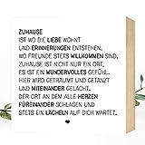 Wunderpixel® Holzbild Zuhause - 15x15x2cm zum Hinstellen/Aufhängen, echter Fotodruck mit Spruch...