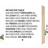 Wunderpixel® Holzbild Wir sind eine Familie - 15x15x2cm zum Hinstellen/Aufhängen, echter Fotodruck...