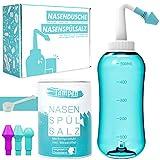 Nasendusche Set · 120x Nasenspülsalz (300g) · Messlöffel (1g) · 3 Aufsätze für Erwachsene &...