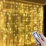 Anpro LED USB Lichtervorhang 3m x 3m, 300 LEDs USB Lichterkettenvorhang mit 8 Lichtmodelle für...