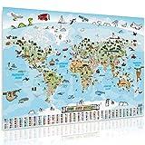GOODS+GADGETS Panorama Weltkarte für Kinder XXL - 140x100cm Kinder-Weltkarte komplett...