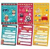 12 Einladungskarten zum Kindergeburtstag Kino Party (4 x gelb, 4 x pink, 4 x blau) gemischt / Cinema...